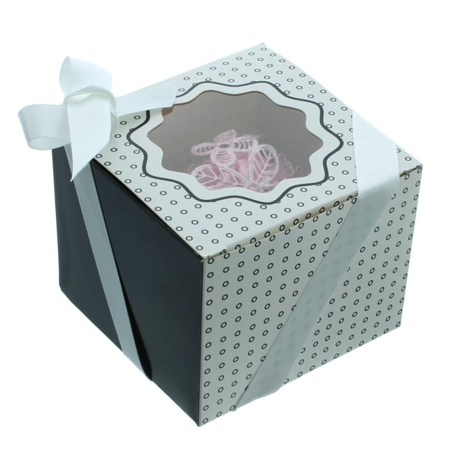 The Cake Decorating Co. Single Luxury Satin Cupcake Box - White With Black Circles