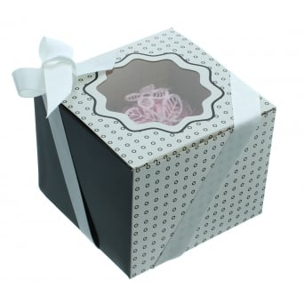 Single Luxury Satin Cupcake Box - White With Black Circles