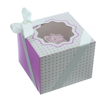 Single Luxury Satin Cupcake Box - White With Lavender Circles
