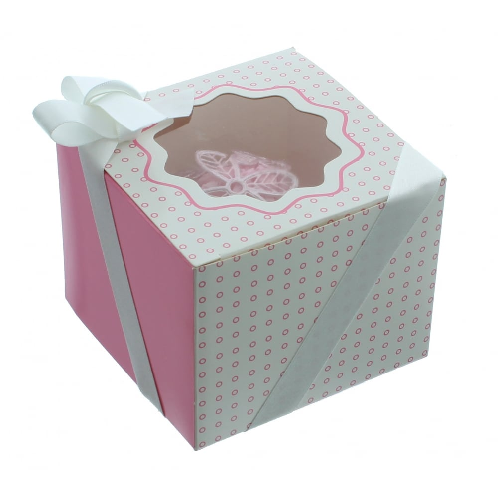 The Cake Decorating Co. Single Luxury Satin Cupcake Box - White With Pink Circles - Presentation ...