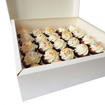 White Cupcake Box Holds 25 Cupcakes