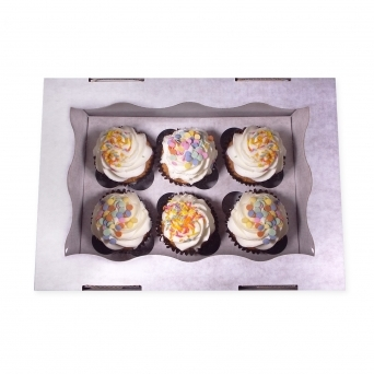 Window Corrugated Cardboard Cupcake Box Holds 6