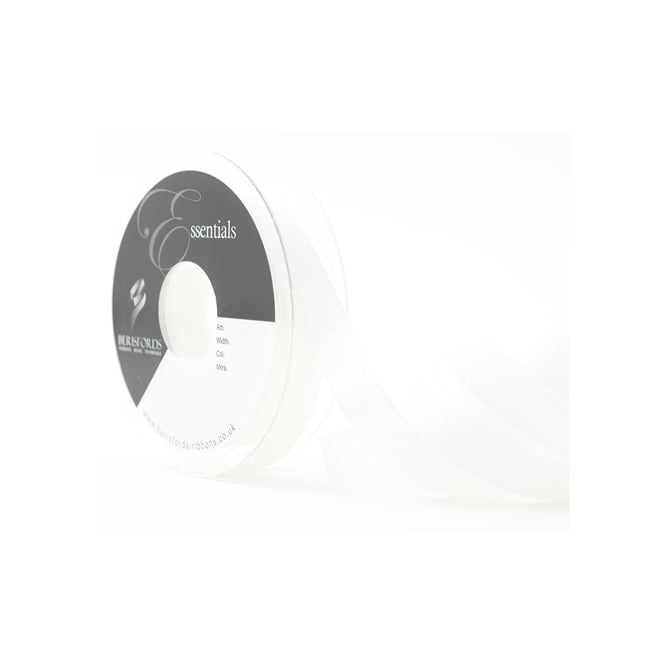 Berisfords White Dazzle Satin Ribbon 7mm x 20 Metres