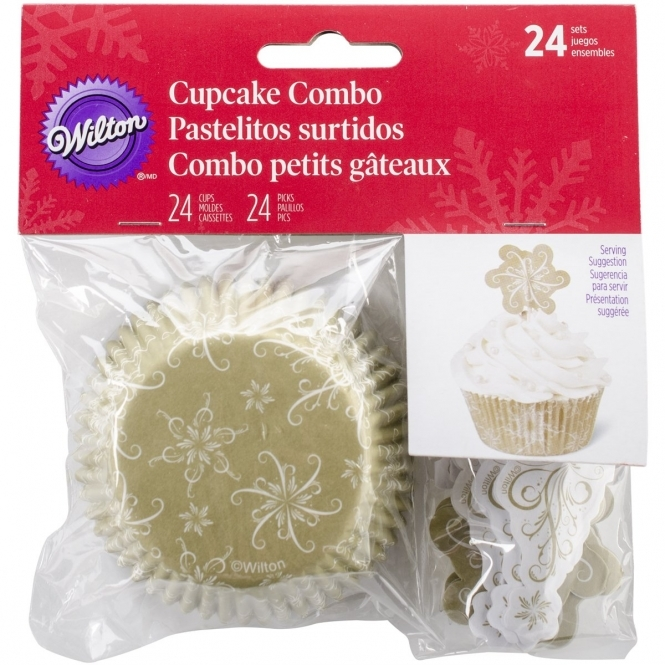 Wilton Sparkle And Cheer Christmas Baking Cases And Toppers x 24